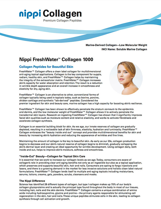 Nippi FreshWater 1000 Cosmeceutical Applications